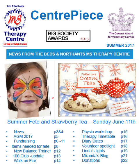 photo of front cove of newsletter showing advert for summer fete with picture of girl with face painted as a butterfly